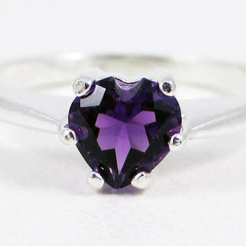 Amethyst Heart Ring Sterling Silver