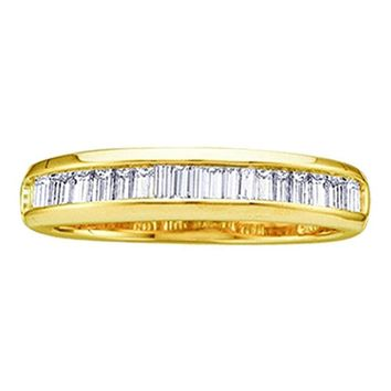 CERTIFIED 1/6 ctw Wedding Band Solid 10k Yellow Gold Ring Stackable Baguette