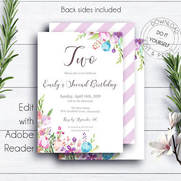 2nd Floral Birthday Invitation Template, Girl Birthday Party Invitation, Kids Birthday, Editable Birthday, Floral Watercolor
