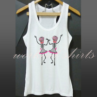 Two skeletons dancing tank top white tee shirt size S M L XL printed t shirt sleeveless tank/ singlet/ unisex clothes