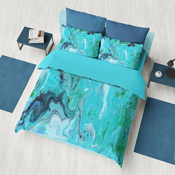 Blue Marble Duvet Cover or Comforter, modern marble, unique elegant, beautiful blues, teal bedroom decor
