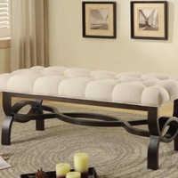 Transitional Bench Ottoman with Espresso Finish Legs by Coaster 500040