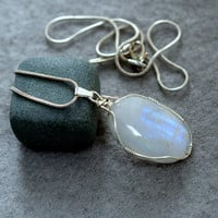 Moonstone pendant sterling silver wire wrapped with a silver plated necklace
