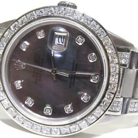 Men's Rolex Oyster Perpetual 5.80ct Diamond 16014 S/S Black MOP Dial Sapphire