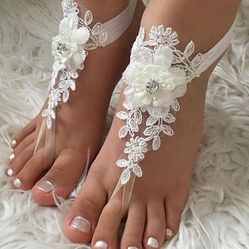 Flower Girl Barefoot Sandals, ivory lace sandals, 3D Flowers Kids Shoes, Beach wedding, Bridesmaid sandals, Girls Barefoot sandals