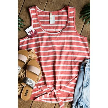 Striped Tie Front Tank Top, Brick