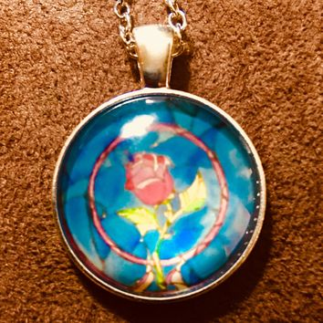 Beauty and the Beast Rose Glass Cabochon Necklace