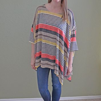 Today is the Day Striped Poncho Top