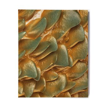 "Danny Ivan ""Gold Rock"" Gold Green Abstract Geological Digital Mixed Media Birchwood Wall Art"