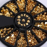 12 Patterns/Box Gold Plated Metal Studs 3D Nail Decoration In Wheel Manicure Nail Art Decoration