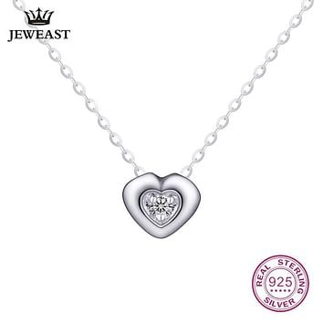18K Gold Diamond Necklace Pendant Female Heart Lock Chain Charm Women Girl Miss Gift Genuine Party Trendy Customization Good New