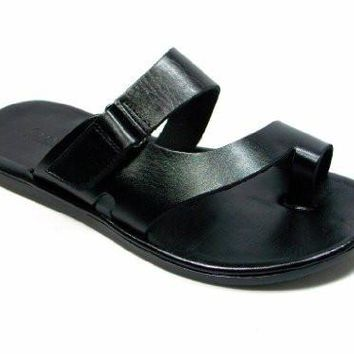 New Men's 52657 Slip On Ring Toe Leather Sandals Black