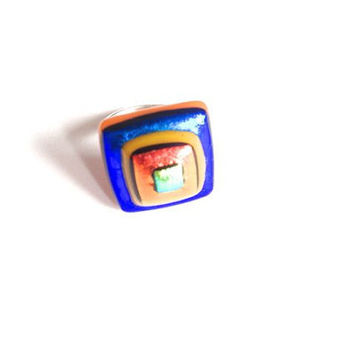 Multicoloured dichroic glass ring, orange, blue, yellow, orange, black, sterling silver adjustable ring, 925 silver