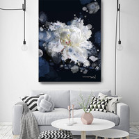 """Breathless 2, Floral Painting Print, Black Blue White Floral Art, Large Blue White Contemporary Canvas Art Print up to 72"""" by Irena Orlov"""