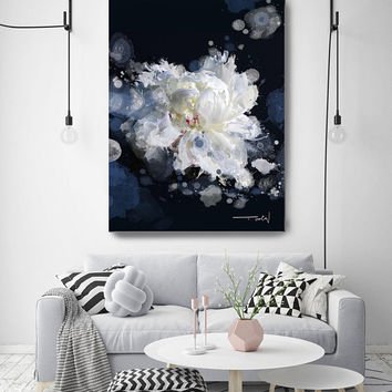 "Breathless 2, Floral Painting Print, Black Blue White Floral Art, Large Blue White Contemporary Canvas Art Print up to 72"" by Irena Orlov"