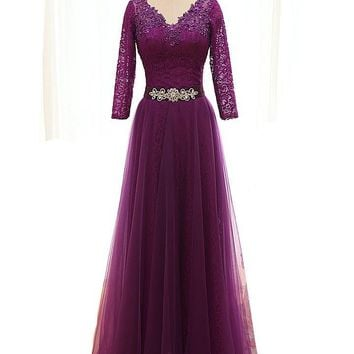 MDBRIDAL Tulle Lace Modest Party Dress A-line Purple Bridesmaid Dresses with Sleeves Custom Size