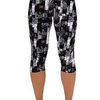 Womens Tartan Leggings Active Workout Capri Leggings Fitted Stretch Tights