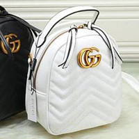 Gucci Trending Pure Color Leather Double G Bookbag Shoulder Bag Handbag Backpack White I
