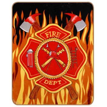 Fire Dept with Flames LEG Queen Blanket - Free Shipping in the Continental US!