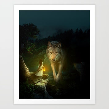 The Wolf Art Print by RIZA PEKER