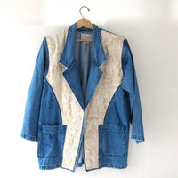 20% OFF SALE...vintage 80s oversized denim jean jacket blazer  coat