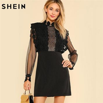 SHEIN Sexy Party Dresses Women Black Long Sleeve High Waist Guipure Lace Applique Contrast Mesh Bodice Sheath Dress