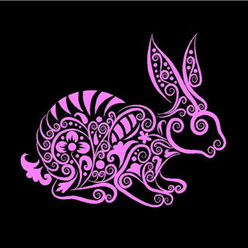 Bunny Rabbit Intricate Bunny Decal Rabbit Vinyl Decal car truck auto vehicle window custom sticker hearts
