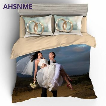 AHSNME Customize 3D Printed Bedding Kit Custom Quilt Cover Pillowcase Bed Set Romantic for Wedding Gift