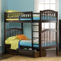 Richmond Twin over Twin Bunk Bed 2 PC Antique Walnut Bedroom Set (Bed and Nightstand) - Atlantic Furniture   Kids Bedroom Sets