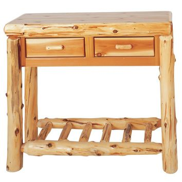 Traditional Cedar Two Drawer Sofa Table