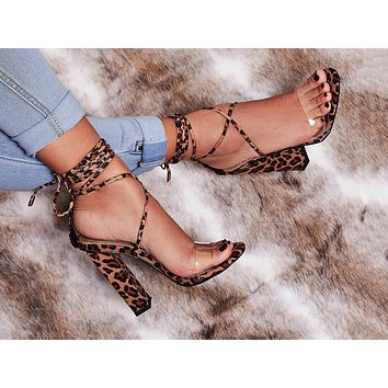 Fashion ladies sandals spring and summer new fish-billed leopard pattern strap-on high heels