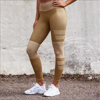 Khaki Stripes Yoga Running Leggings