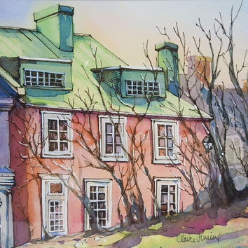 The Pink House Watercolor Painting