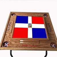 Domino Table with Dominican Republic Flag-dark Walnut