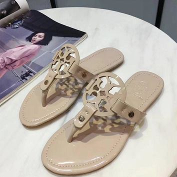 Tory Burch Patent Leather Collection Classic Fashion High Quality Summer Thong Sandals F-ALS-XZ beige
