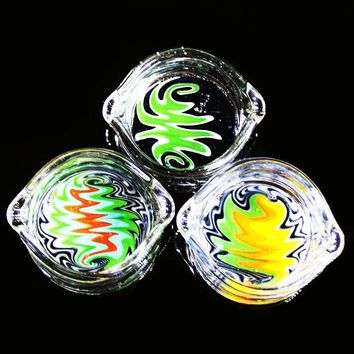 Imported color glass oil ring ashtray glass ashtray dish glass oil ring ashtray glass ashtray dish OIL RIG/DISH/DABBER for Pipes