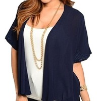 Independent Womens Embroidered Boho Kimono Loose Chiffon Cardigan Navy Blue
