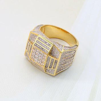Iced Out Gold Pyramid Ring