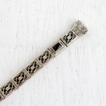 Antique Sapphire Blue Art Deco Watchband - Vintage White Gold Filled Flower Embossed Filigree Watch Band Jewelry / Panel Stretch Bracelet
