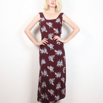 Vintage 90s Dress Burgundy Oxblood Pink Red Blue Ditsy Floral Print Midi Dress 1990s Soft Grunge Sundress Boho Sleeveless Maxi M Medium L