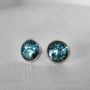 Vintage Teal Glitter Big Stud Earrings 10 mm round post fake gauges