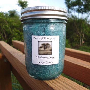 Sugar Scrub, Blueberry Sage scented with Olive Oil & Vitamin E, in Mason Jar, 8 oz.