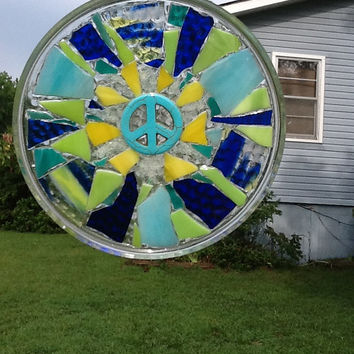 Peace Sign Stained Glass Mosaic Window Art Suncatcher