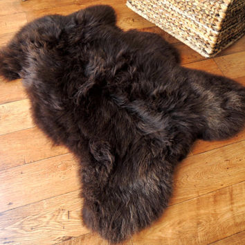 Amazing Genuine 100% Natural Sheepskin Rug - Choco Brown Mix Soft Wool - ECO product of EU  (ETN-43)