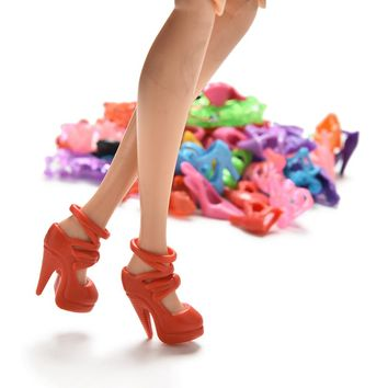 40 Pairs Trendy Mix Assorted Doll Shoes Multiple Styles Heels Sandals For Barbie Dolls Dolls Accessories