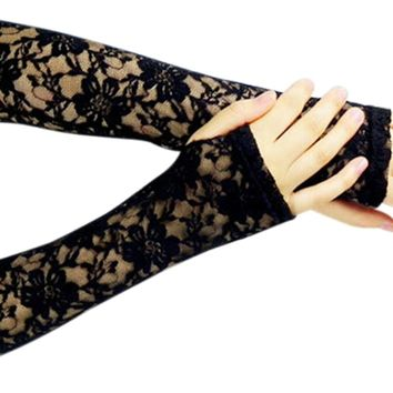 women's line Lady Lace Flower Fashion Vintage Cosplay Shading Long Fingerless Glove