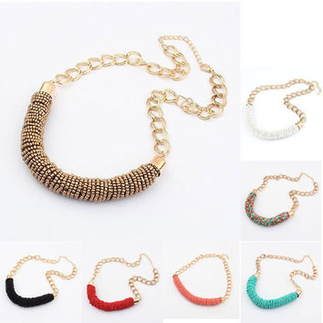 Fashion Vintage Necklace Bohemian Beaded Chunky Chain Women Trendy Statement Necklace Handmade Beads Choker Jewelry H6880 P