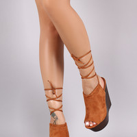 Suede Peep Toe Lace Up Faux Wooden Platform Wedge