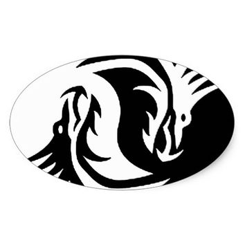 yin-yang dragons tribal pattern white oval sticker