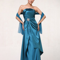 Gorgeous Long Teal Strapless Prom Dress Formal Sale